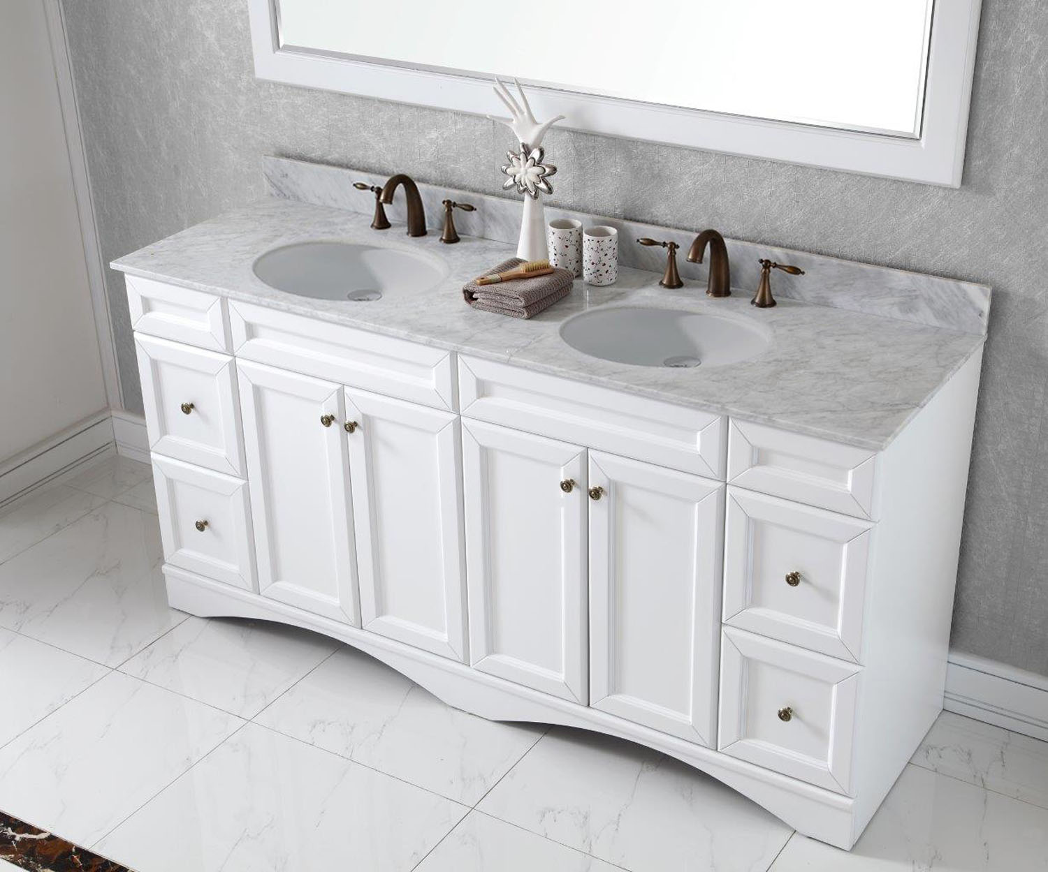 Virtu USA - ED-25072-WMRO-WH - Talisa 72 in. Bathroom Vanity Set in White