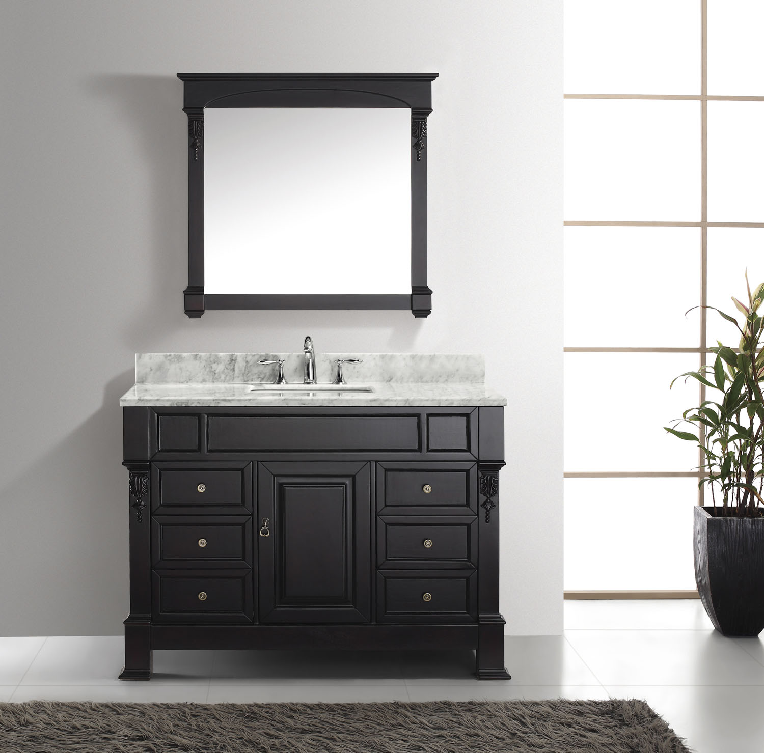 "Huntshire 48"" Vanity by Virtu USA - ms-2948-wmsq-dw-2"
