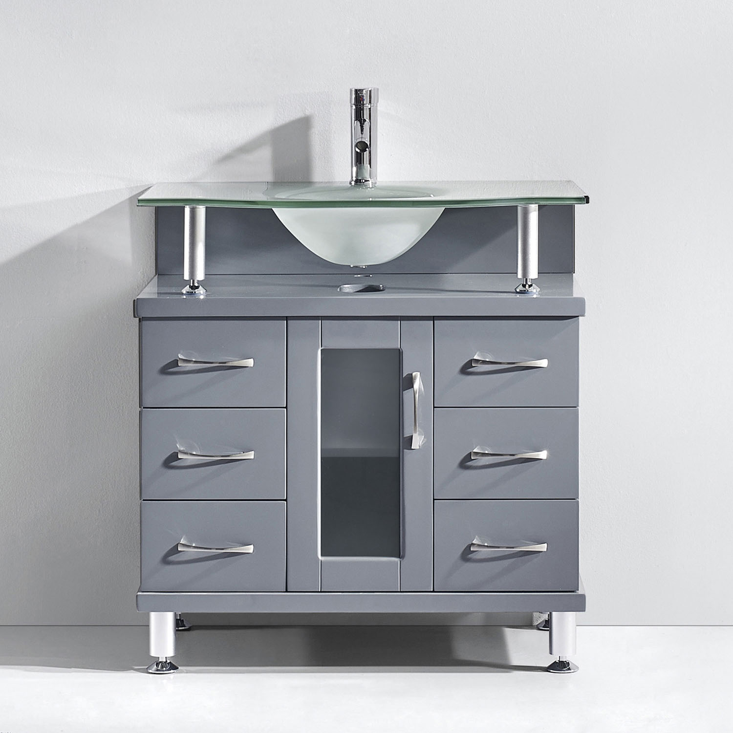 Virtu USA - MS-32-FG-GR - Vincente 32 in. Bathroom Vanity Set in Gray