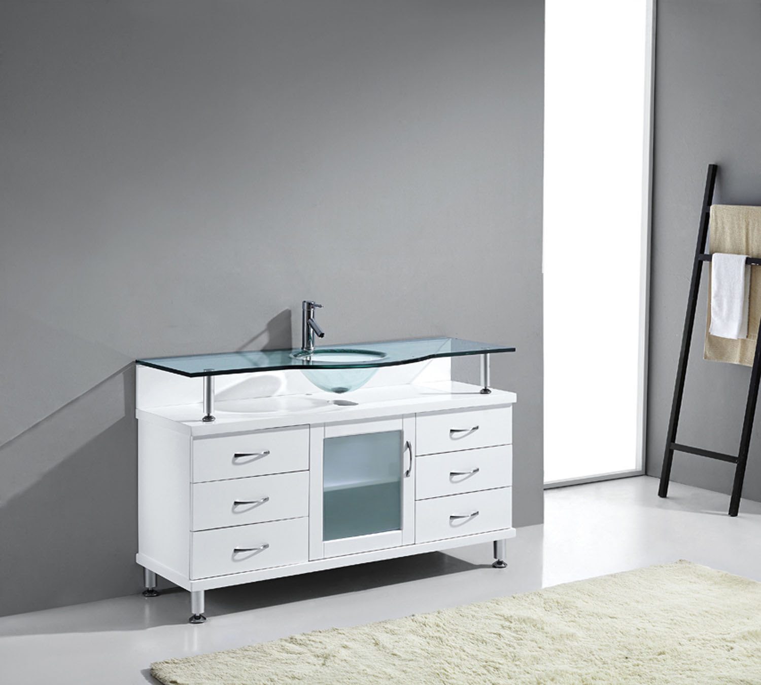 "Vincente 55"" Vanity in White by Virtu USA - ms-55-g-wh-2"