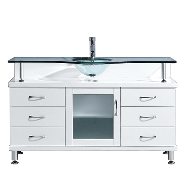 Virtu USA - MS-55-G-WH - Virtu USA Vincente 55 in. Bathroom Vanity Set in White