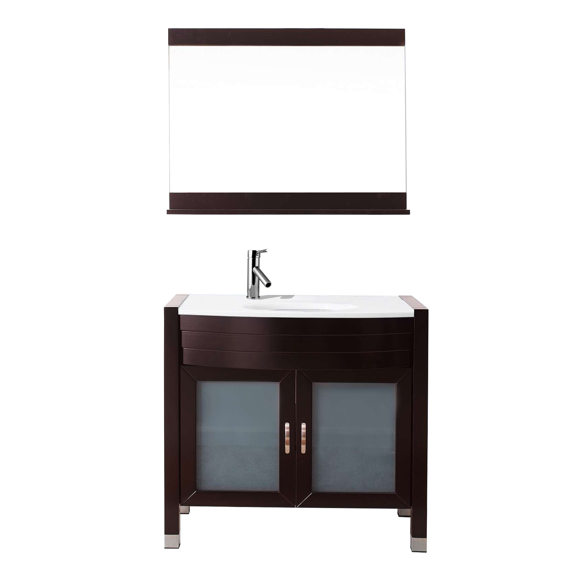 "Virtu USA - UM-3071-S-ES - Ava 36"" Single Round Sink White Stone Top Vanity in Espresso with Polished Chrome Faucet and Mirror by Virtu USA"