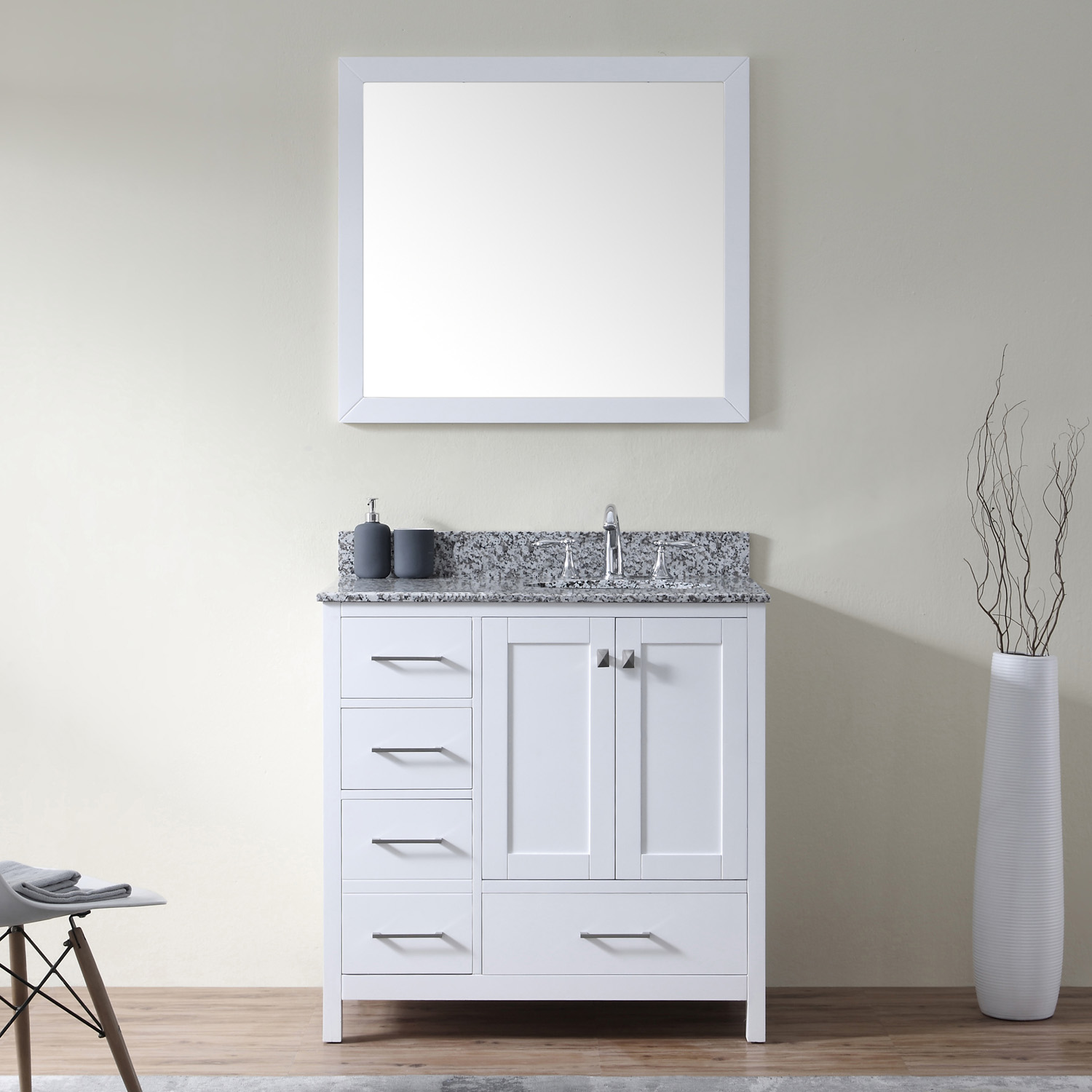 "Caroline Madison 36"" Vanity in White by Virtu USA - gs-28036l-awro-wh"