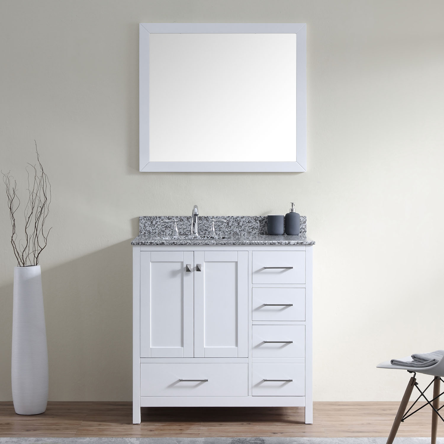 "Caroline Madison 36"" Vanity in White by Virtu USA - gs-28036r-awro-wh"