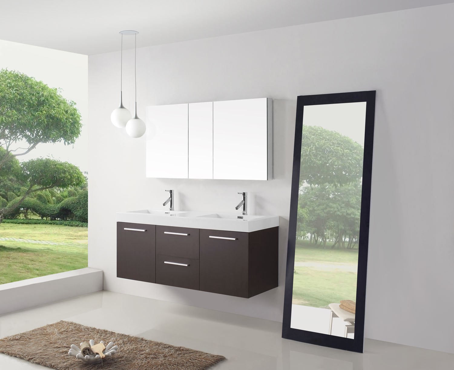 Midori  Double Vanity Virtu USA - 54 vanity double sink