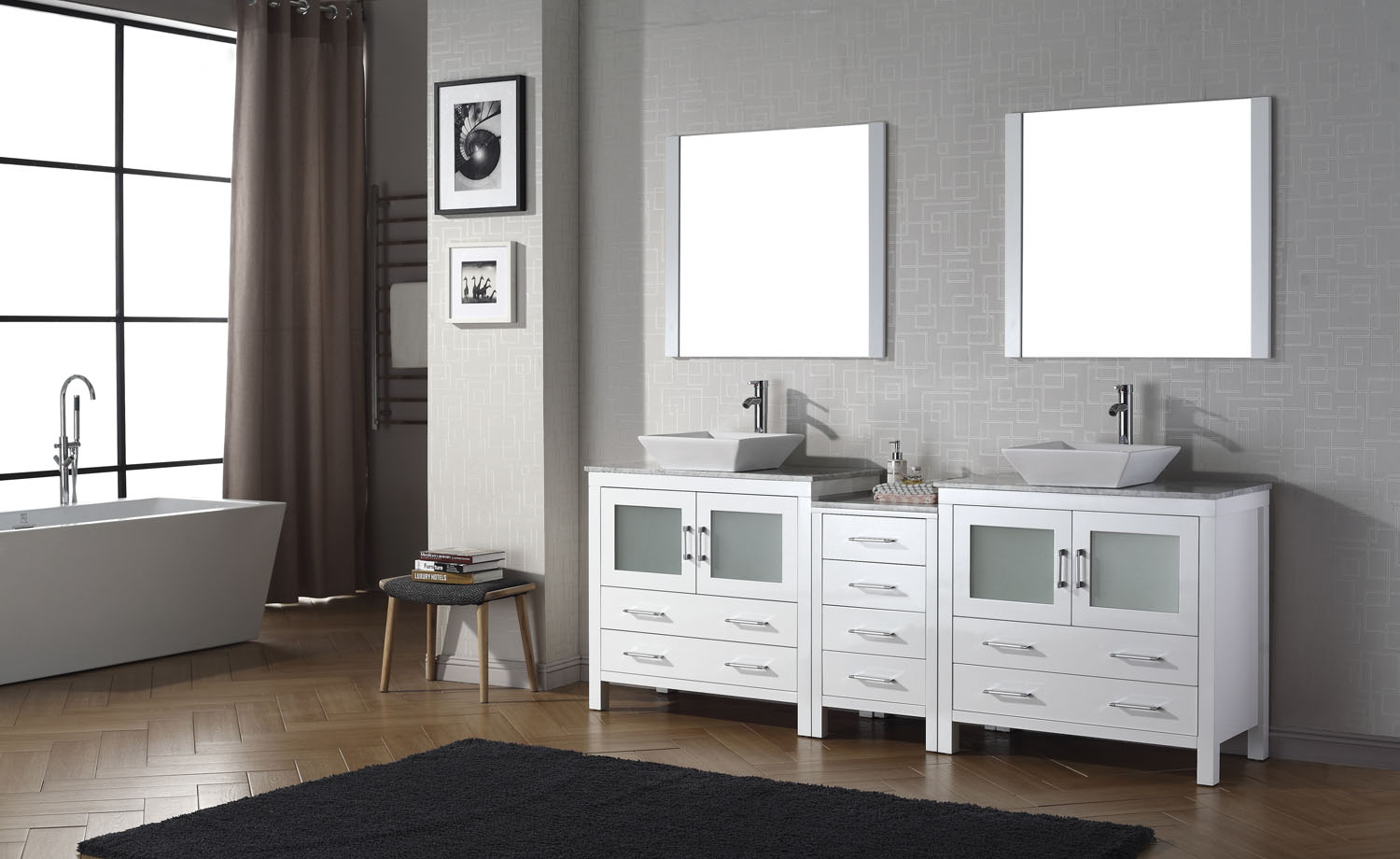 Dior 90 double vanity virtu usa for Bathroom cabinets 90